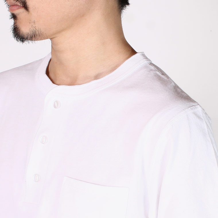 FELCO (フェルコ)  L/S HENLEY NECK POCKET-T U.S.COTTON OPEN END JERSEY - WHITE