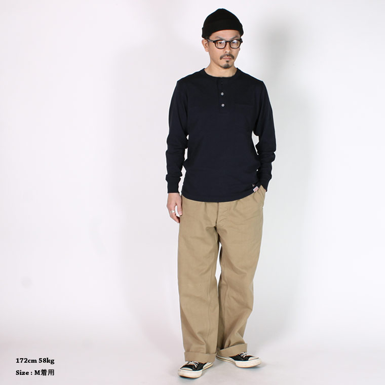 FELCO (フェルコ)  L/S HENLEY NECK POCKET-T U.S.COTTON OPEN END JERSEY - NAVY