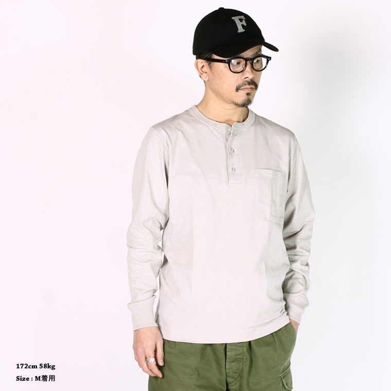 FELCO (フェルコ)  L/S HENLEY NECK POCKET-T U.S.COTTON OPEN END JERSEY - GREY