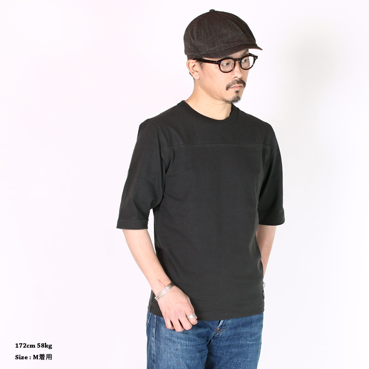 FELCO (フェルコ)  HALF SLEEVE FOOT BALL T OPEN END JERSEY U.S.COTTON - BLACK