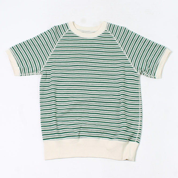 FELCO (フェルコ) S/S RAGLAN SWEAT IVY STRIPE - GREEN