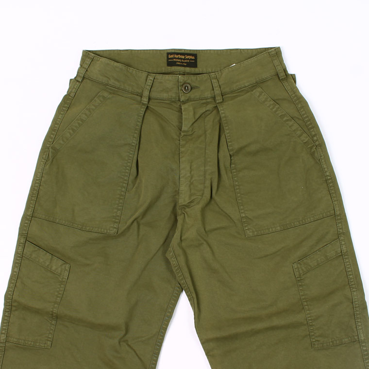 East Harbour Surplus (イーストハーバーサープラス) MARLON OS FATIGUE PANT COTTON GABADINE - GREEN M.