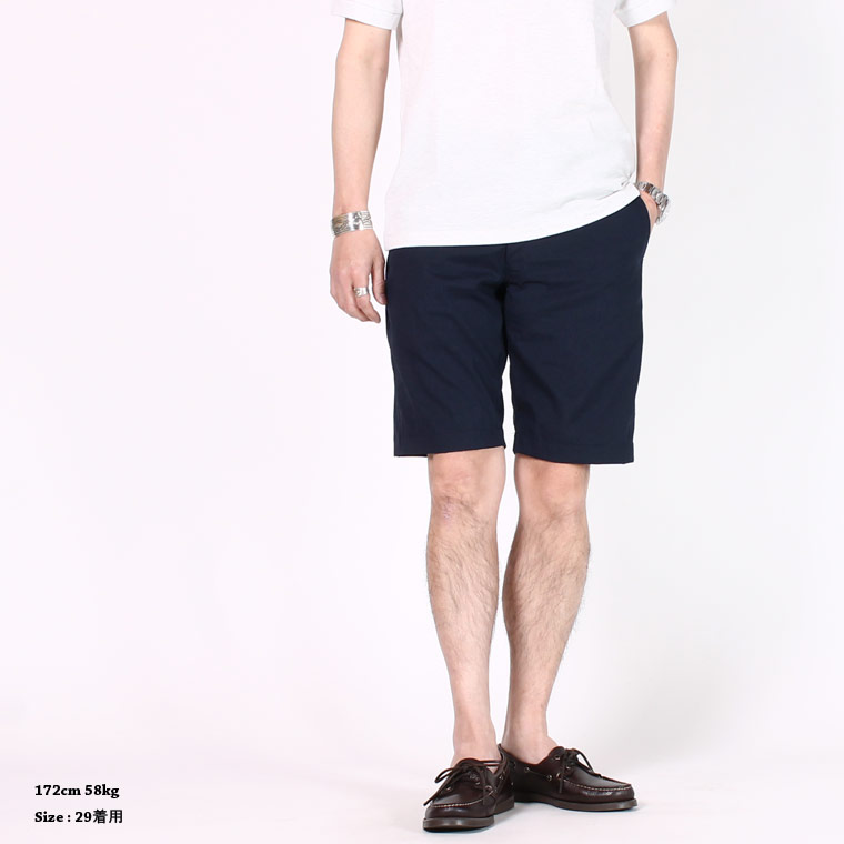 KEATON CHASE USA (キートンチェイスUSA) BERMUDA SHORT W/BUCKLE BACK COOL MAX SEERSUCKER - NAVY