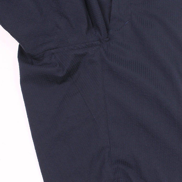 KEATON CHASE USA (キートンチェイスUSA) BERMUDA SHORT W/BUCKLE BACK COOL MAX SEERSUCKER - NAVY