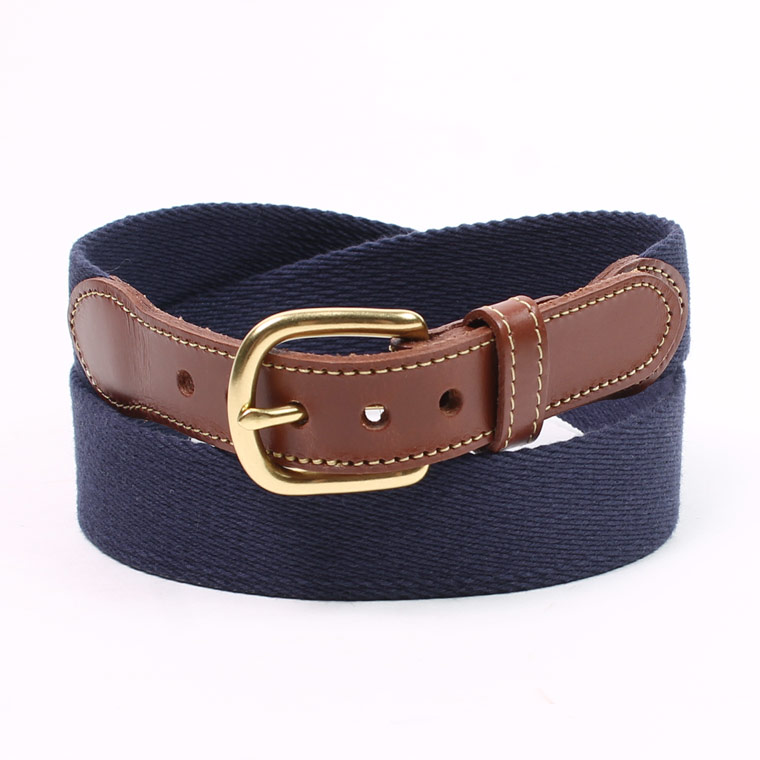 LEATHERMAN BELT (レザーマンベルト) 1.25 SOLID COTTON SURCINGLE W/YELLOW STITCHED TABS BRASS HARNESS BUCKLE - NAVY