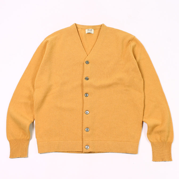 WILLIAM LOCKIE (ウィリアム ロッキー)  LAMBSWOOL CARDIGAN W/SIDE BUTTON - HARVEST GOLD