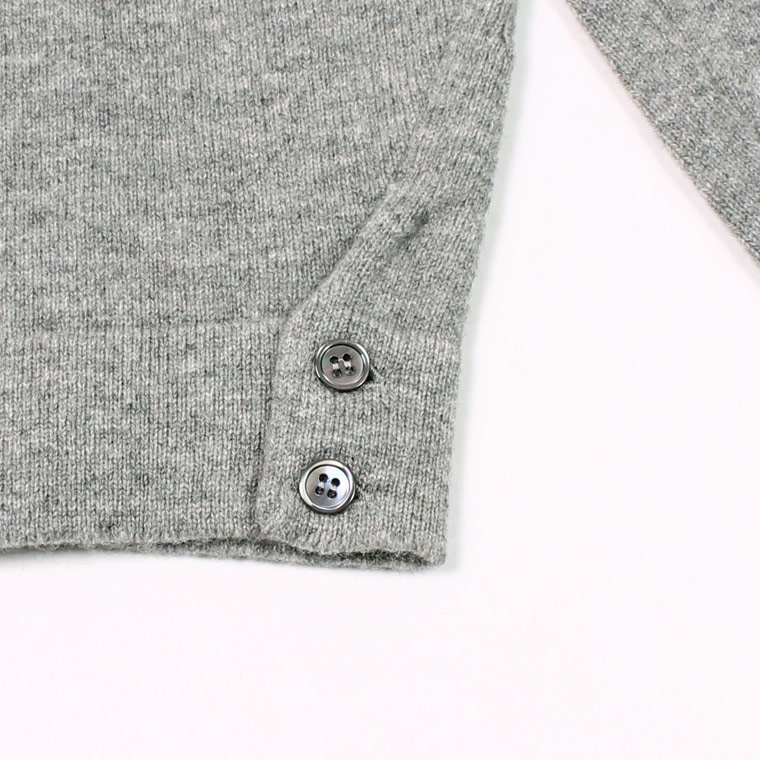 WILLIAM LOCKIE (ウィリアム ロッキー)  LAMBSWOOL CARDIGAN W/SIDE BUTTON - FLANNEL