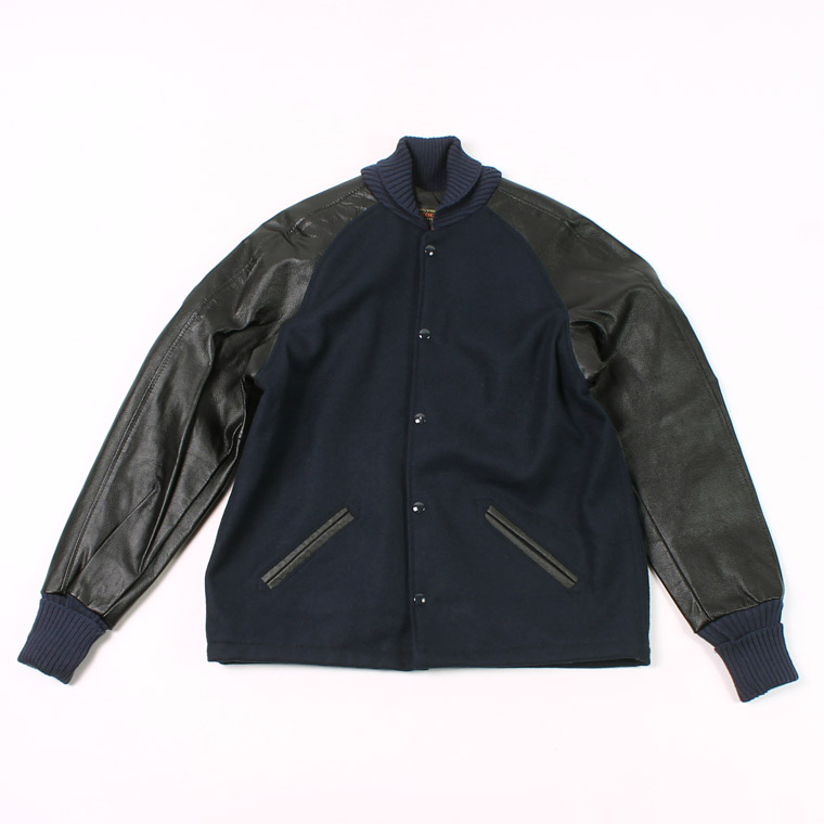 SKOOKUM (スクーカム)  243-L AWARD JACKET MELTON LEATHER RAGLAN SLEEVE BUTTON FRONT - NAVYMELTON_BLACKLEATHER